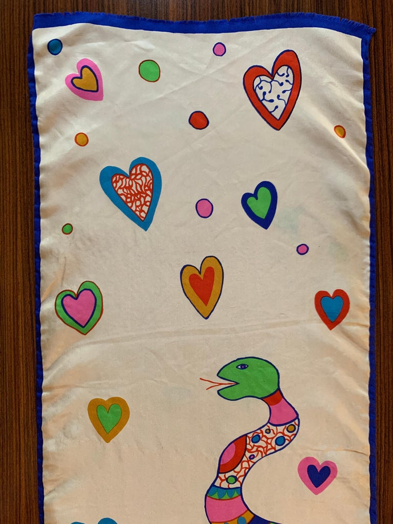 Niki de Saint Snake and Heart Print Long Silk Scarf For Sale 3
