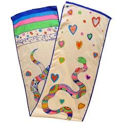Niki de Saint Snake and Heart Print Long Silk Scarf