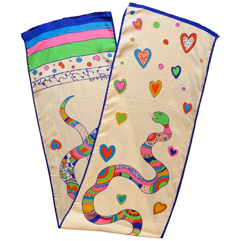 Niki de Saint Snake and Heart Print Long Silk Scarf For Sale