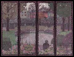 """Mirabell Gardens. Salzburg"" Painting Polyptych 61"" x 79"" in by Nikita Makarov"
