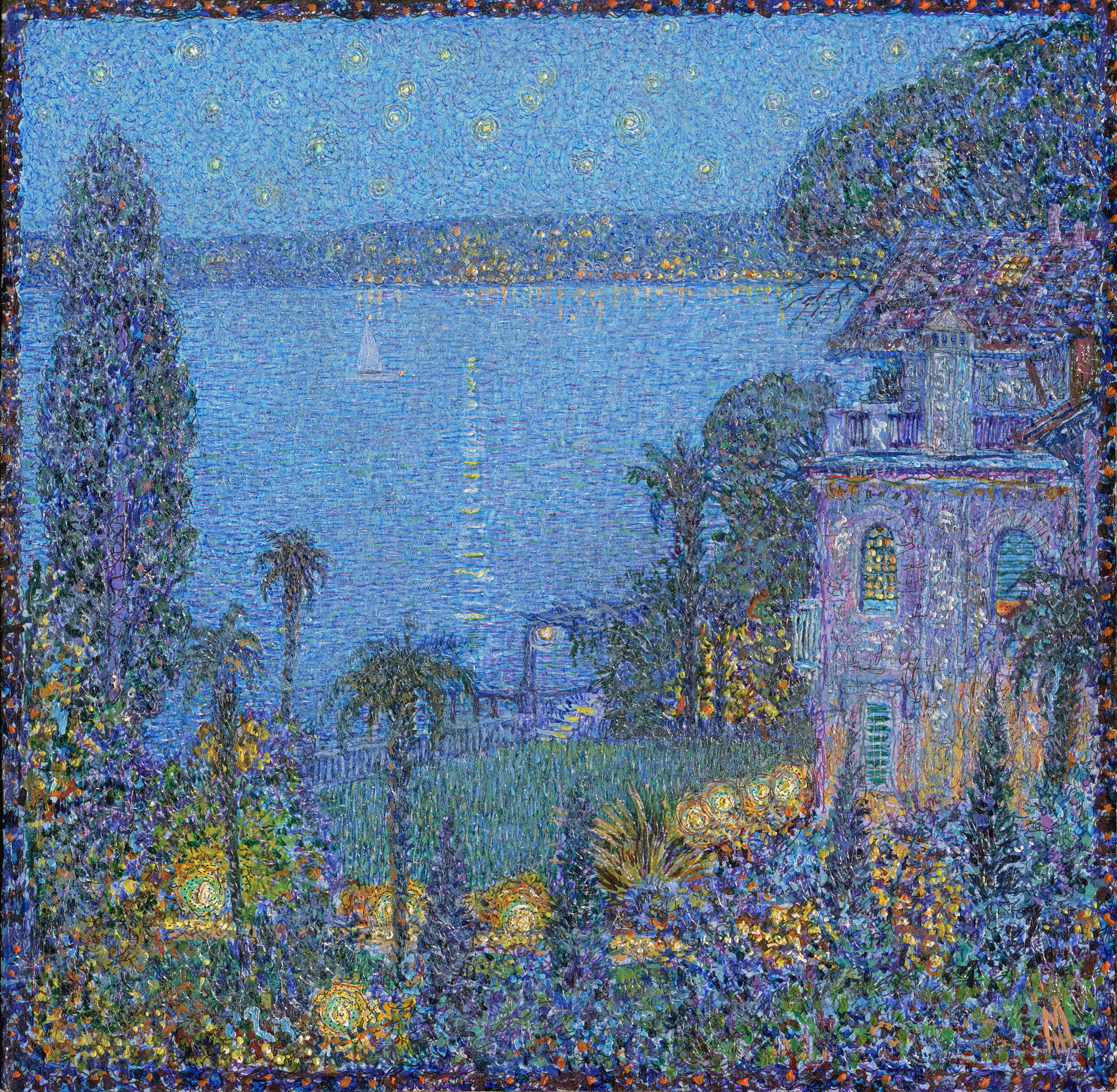 """Night.Villa Maria Au Lac"" Painting by Nikita Makarov"