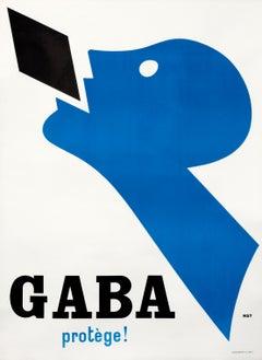 """""""Gaba Protege!"""" Original Vintage Modernist Poster"""