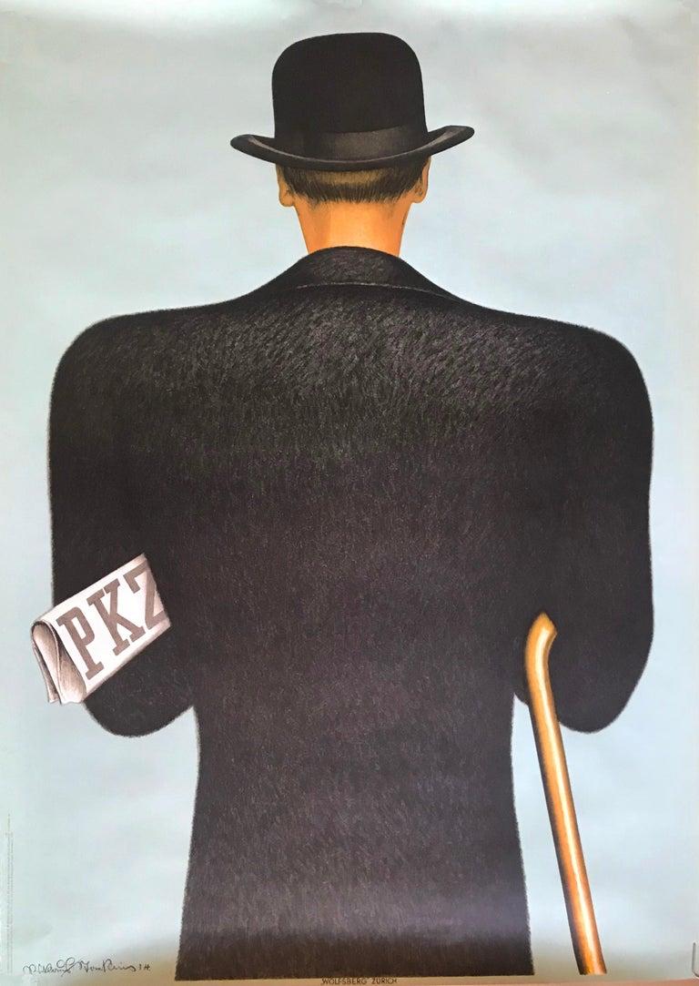 Niklaus Stoecklin Figurative Print - PKZ- Man in Bowler Hat - Reprint 1981