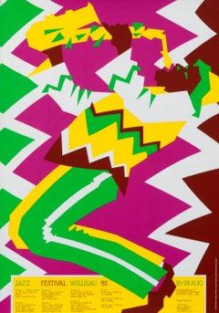 """Jazz Festival Willisau '83"" Troxler Saxophone Original Vintage Poster"