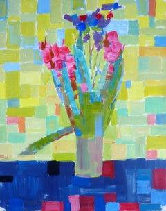 A Vase With Flowers - 21st Century Contemporary Fauvist Floral Oil Painting