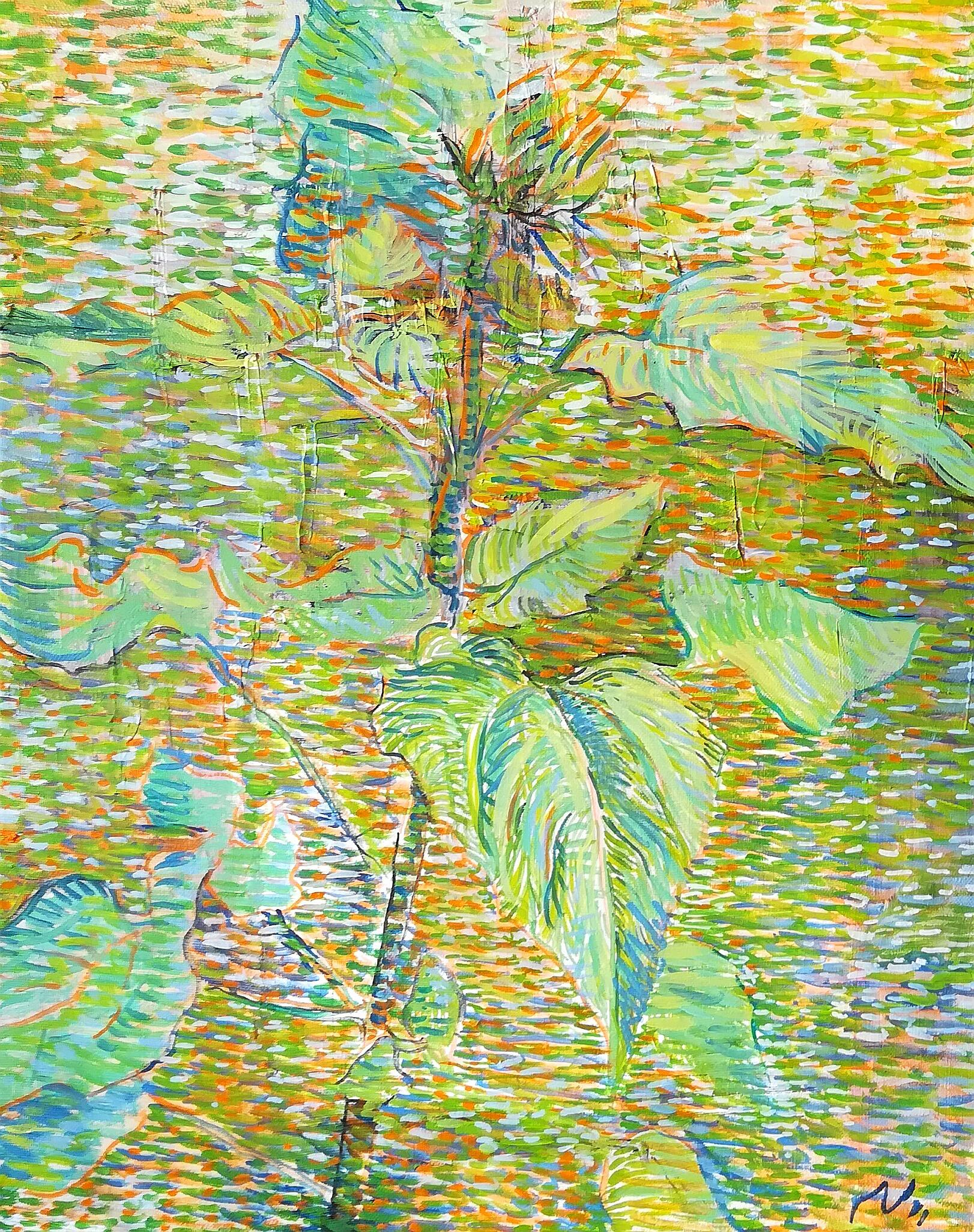 A Young Sunflower - 21st Century Contemporary Impressionism Oil Painting