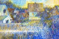 Early Morning Harmony - 21st Century Contemporary Pointillism Oil Painting
