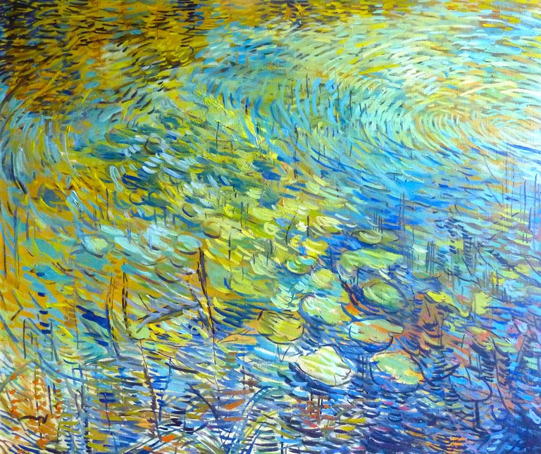 Nikol Klampert Abstract Painting - Evening Lilies - 21st Century Contemporary Impressionist Nature Oil Painting