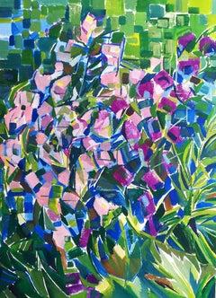 Flower Bells - 21st Century Contemporary Pointillism Floral Oil Painting