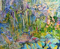Gardening Landscape - 21st Century Contemporary Pointillism Nature Oil Painting