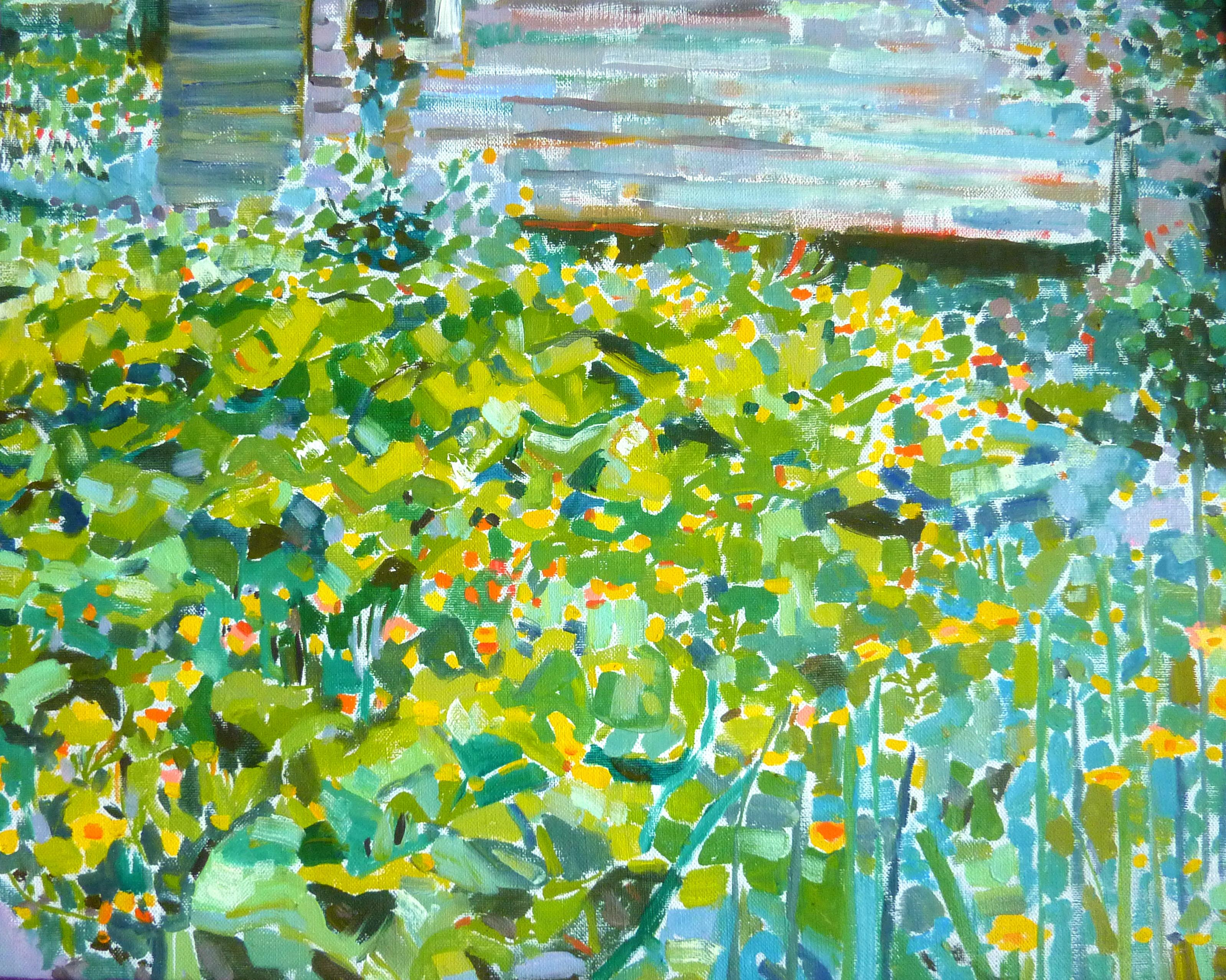 Gardening View - 21st Century Contemporary Pointillism Nature Oil Painting