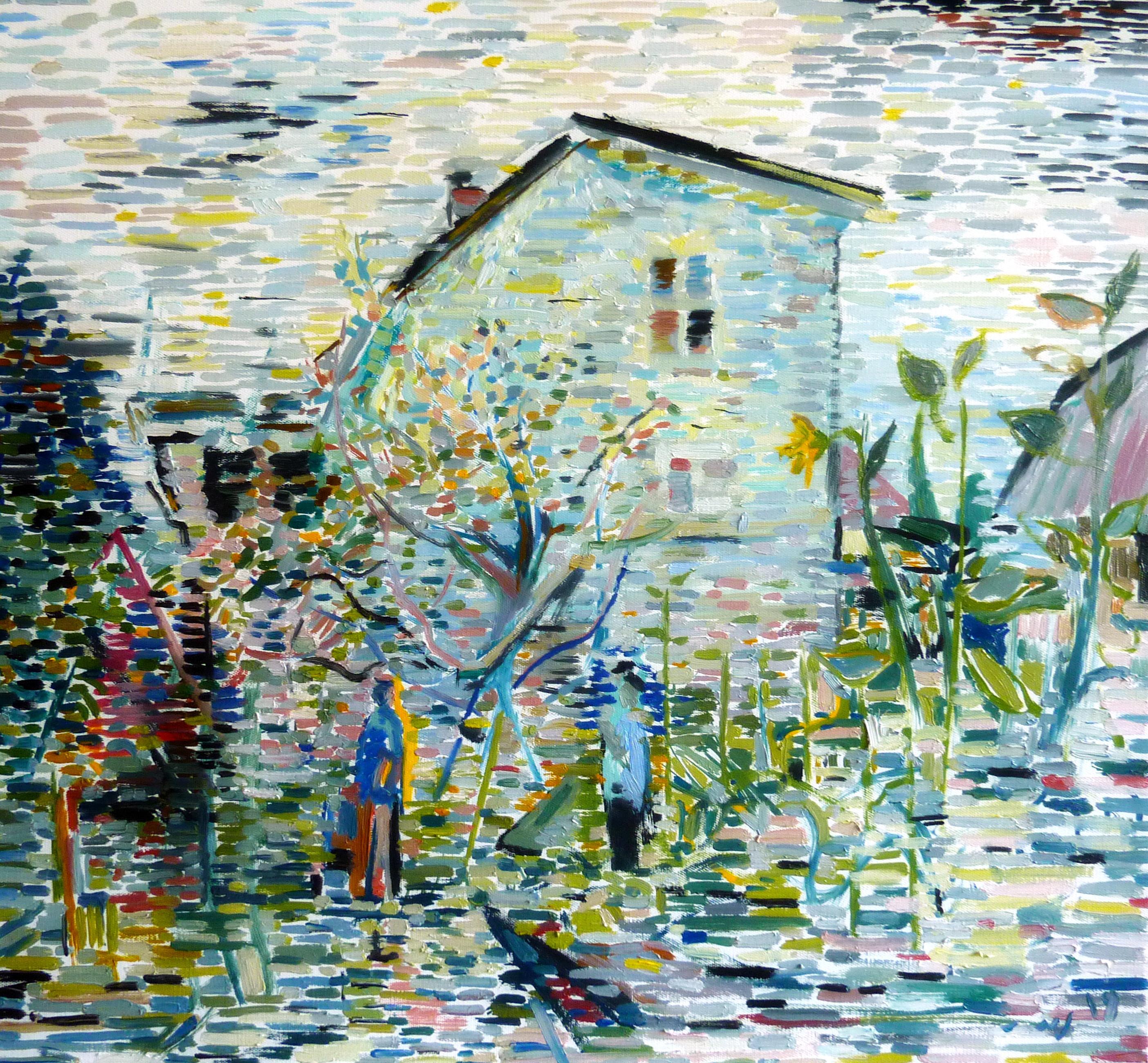 Gray Garden - 21st Century Contemporary Pointillism Nature Oil Painting