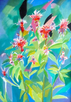 Green and Black Harmony - 21st Century Contemporary Fauvist Flower Oil Painting