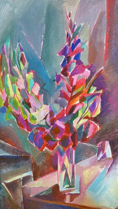 Purple Flowers - 21st Century Contemporary Cubism Floral Oil Painting