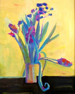 Purple Flowers on Yellow - 21st Century Contemporary Fauvist Floral Oil Painting