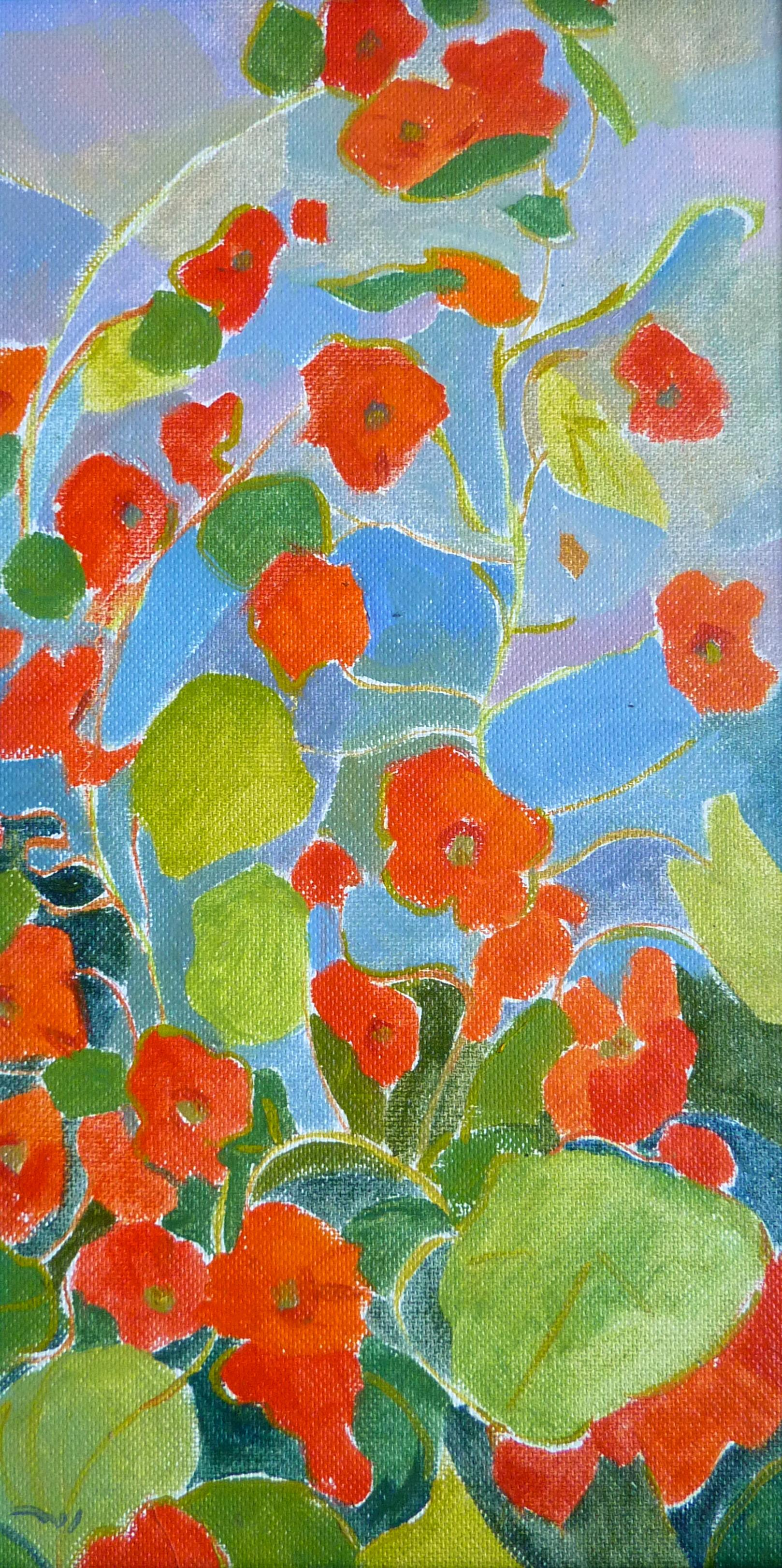 Red Flowers at the Garden - 21st Century Contemporary Naive Floral Oil Painting