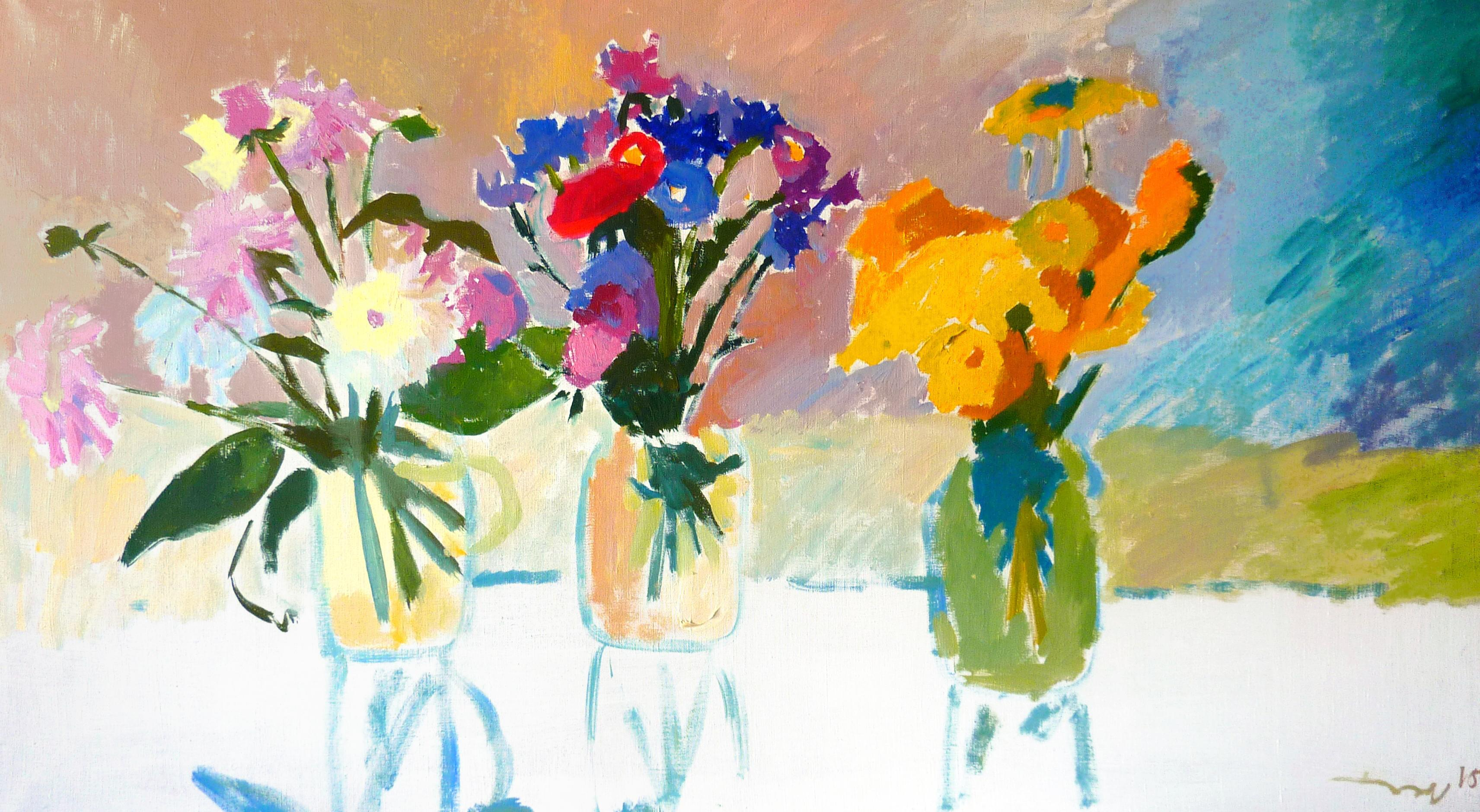 Summer Flowers - 21st Century Contemporary Fauvist Flower Oil Painting