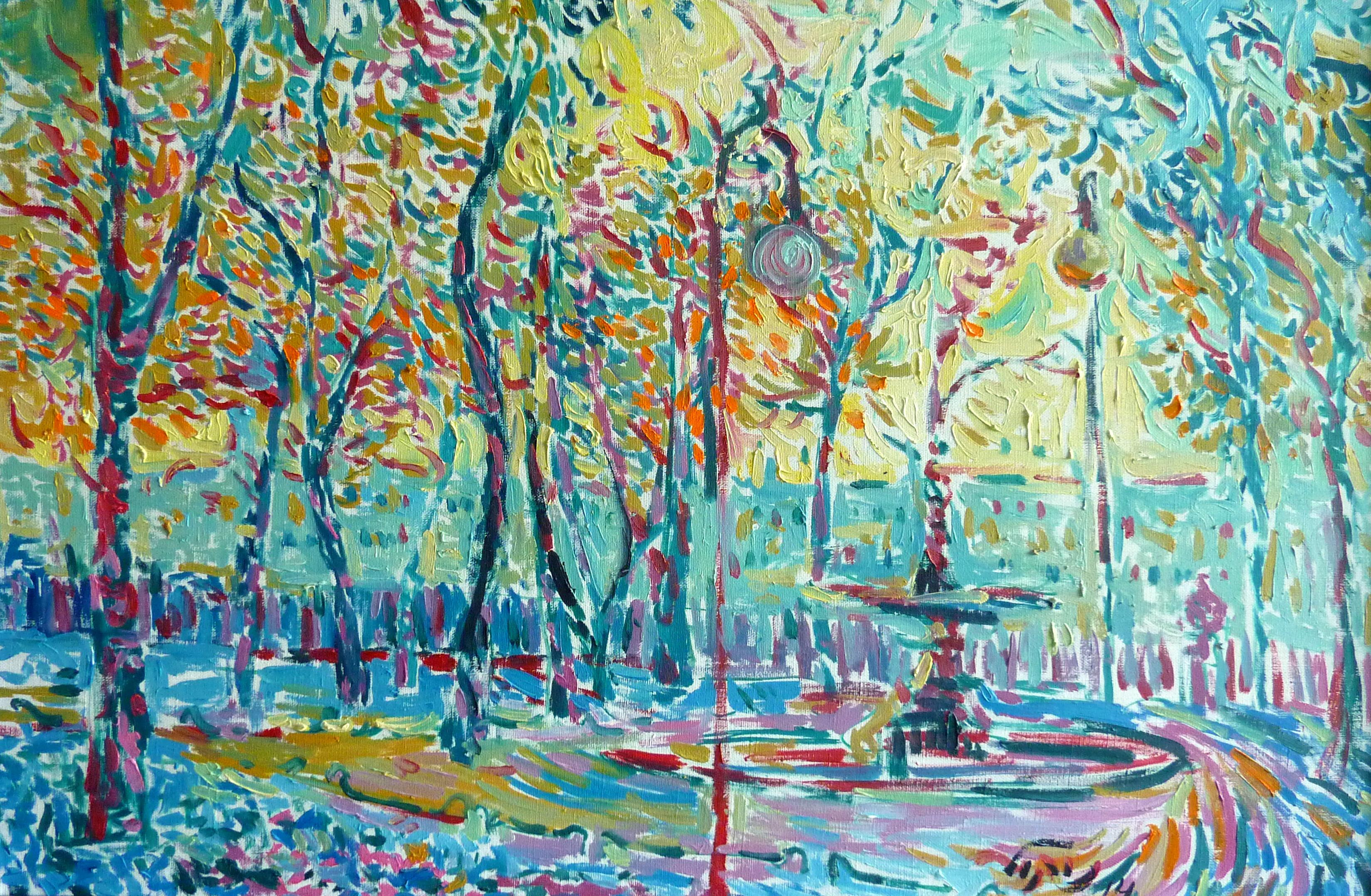 Summer Garden - 21st Century Contemporary Pointillism Landscape Oil Painting