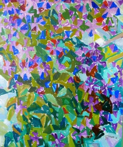 Violet Harmony - 21st Century Contemporary Bright Cubism Nature Oil Painting