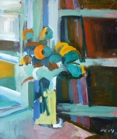 Window Breeze - 21st Century Contemporary Fauvist Bright Floral Oil Painting
