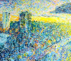 Window View - 21st Century Contemporary Pointillism Urban Oil Painting