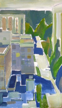 Window View No.1 - 21st Century Contemporary Pointillism Oil Painting
