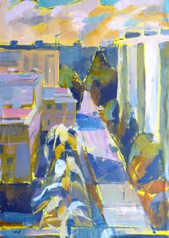 Window View No.2 - 21st Century Contemporary Urban Cubism Oil Painting