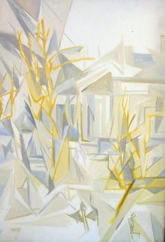 Winter Storm at the Academy Garden - 21st Century Contemporary Cubism Painting