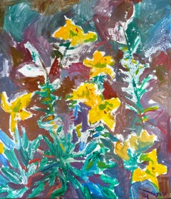 Yellow Flowers at the Gardening - 21st Century Contemporary Fauvist Oil Painting
