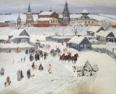Russian Village Snow Scene