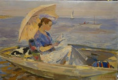 """""""Woman with a little owl on a boat"""" cm. 61 x 90  1970 Oil"""