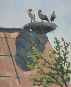 storks on roof, Painting, Oil on Canvas