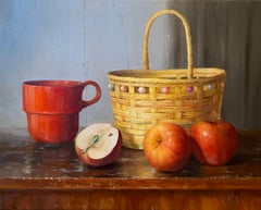 Still Life with Red Mug and Apples, Oil Painting