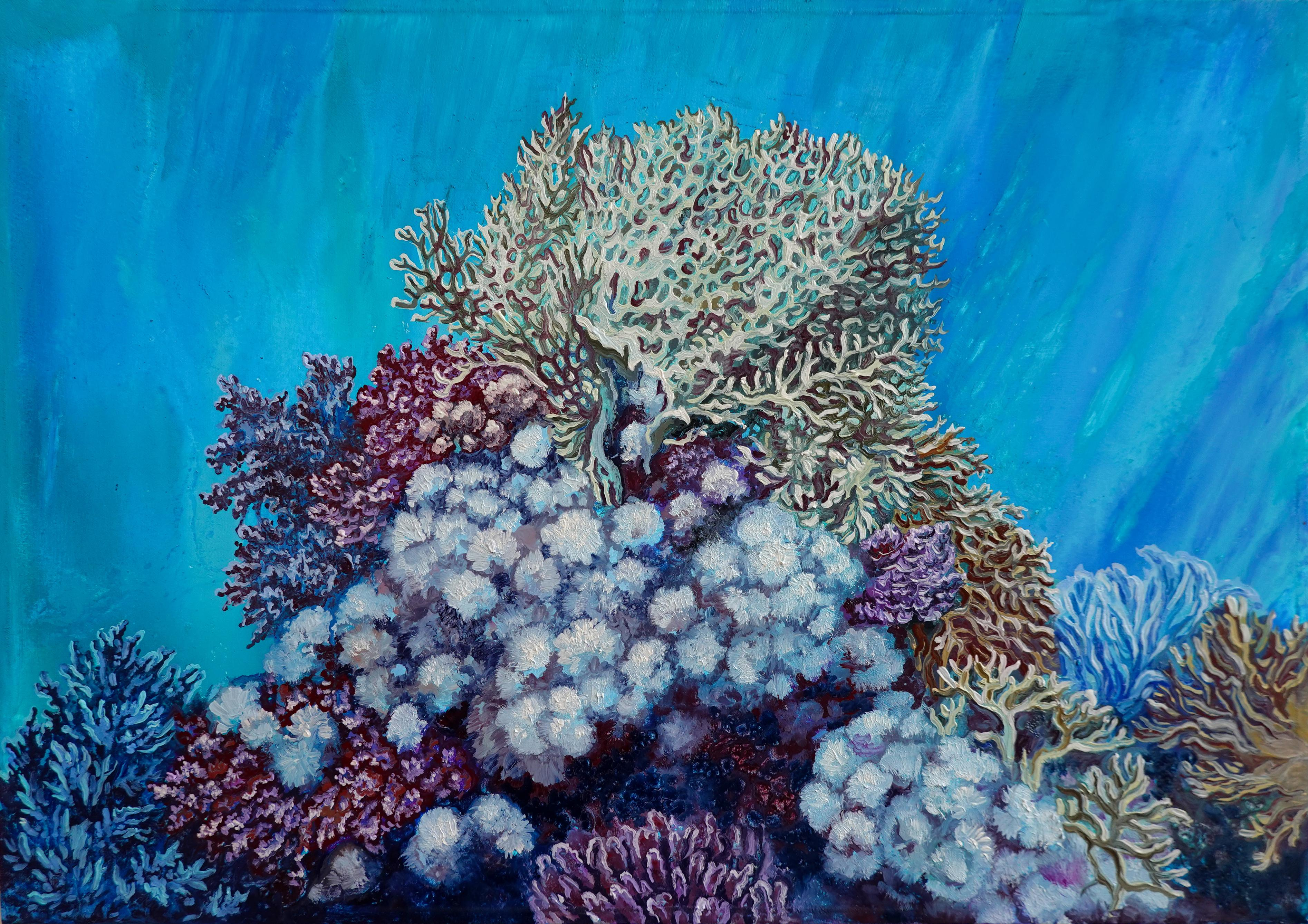 December Morning, Coral Reef Painting, Oil on Canvas by Nikolina Kovalenko