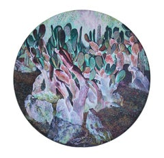 Noon (cactus) - circle wood panel, made in lavander, violet, green, pink color