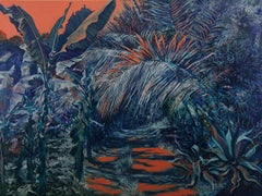 Rainforest sunset-oil on wood panel, made in blue, green, orange colors