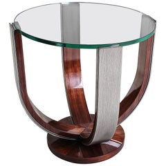 Nikolska, Side Table in Rosewood, Hand Patinated Silver Leaf and Glass