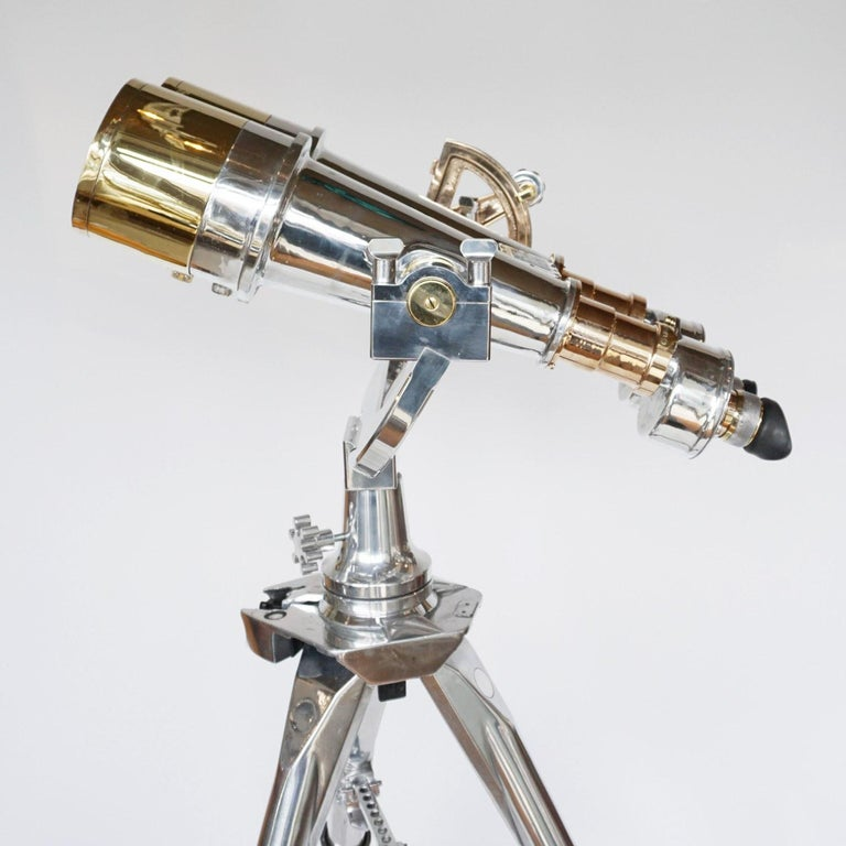 Nikon 20x120 WW11 Naval Binoculars Chromed Metal and Brass For Sale 7