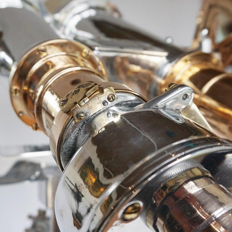 Nikon 20x120 WW11 Naval Binoculars Chromed Metal and Brass For Sale 10