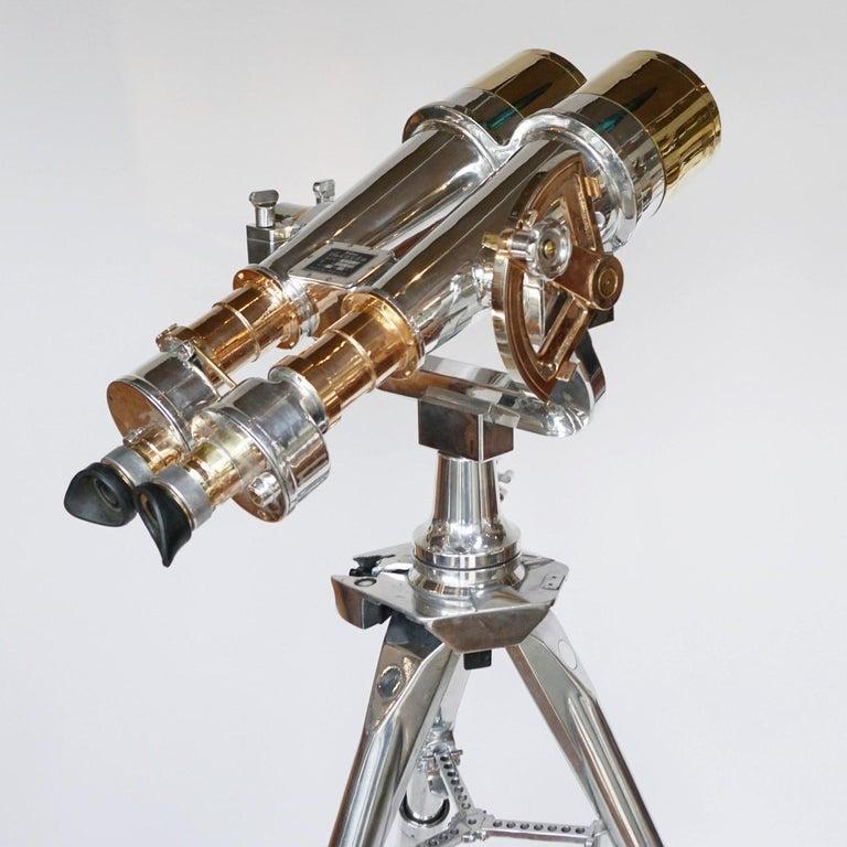 Nikon 20x120 WW11 Naval Binoculars Chromed Metal and Brass For Sale 13