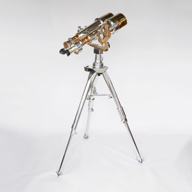 Nikon 20x120 WW11 Naval binoculars. Chromed metal and brass binoculars, set on an original Zeiss 1960's Military, re-polished stand.   20x magnification with 120mm objective lenses. Paint stripped and metal polished. Optics fully