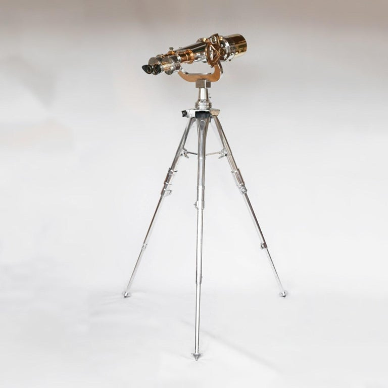 Nikon 20x120 WW11 Naval Binoculars Chromed Metal and Brass For Sale 15
