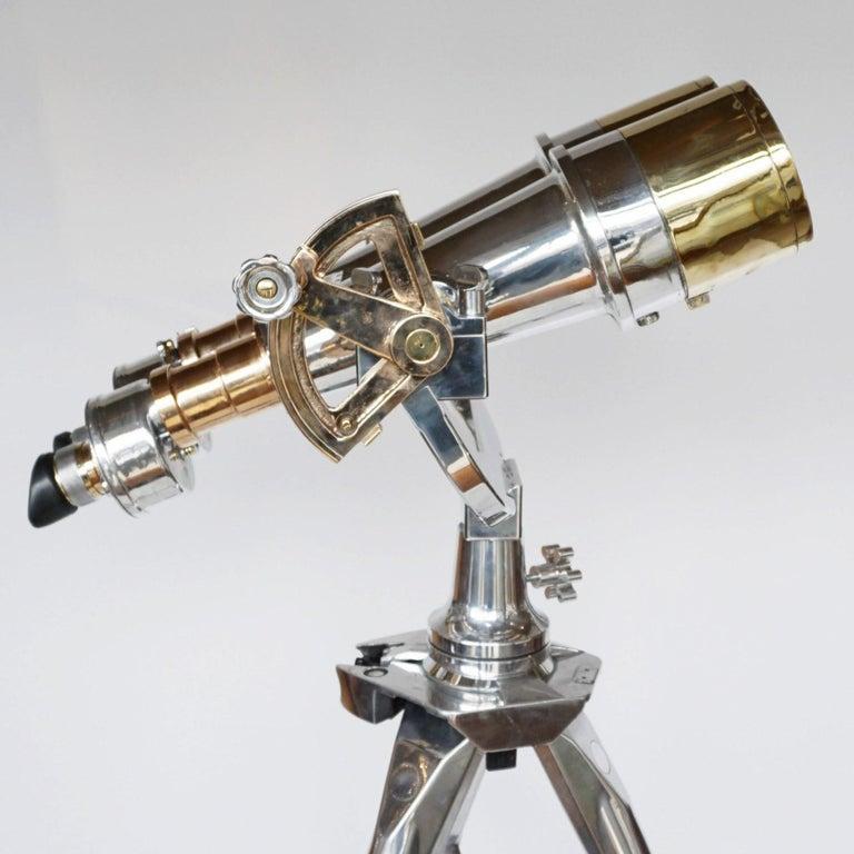 20th Century Nikon 20x120 WW11 Naval Binoculars Chromed Metal and Brass For Sale