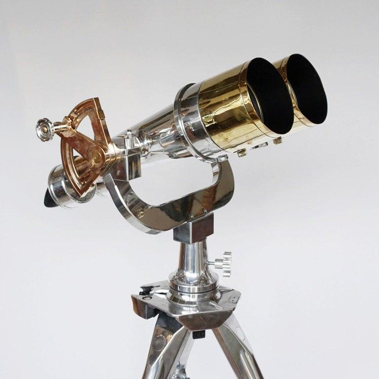 Nikon 20x120 WW11 Naval Binoculars Chromed Metal and Brass For Sale 2