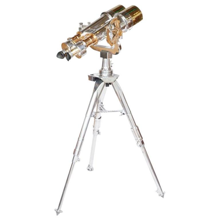 Nikon 20x120 WW11 Naval Binoculars Chromed Metal and Brass For Sale