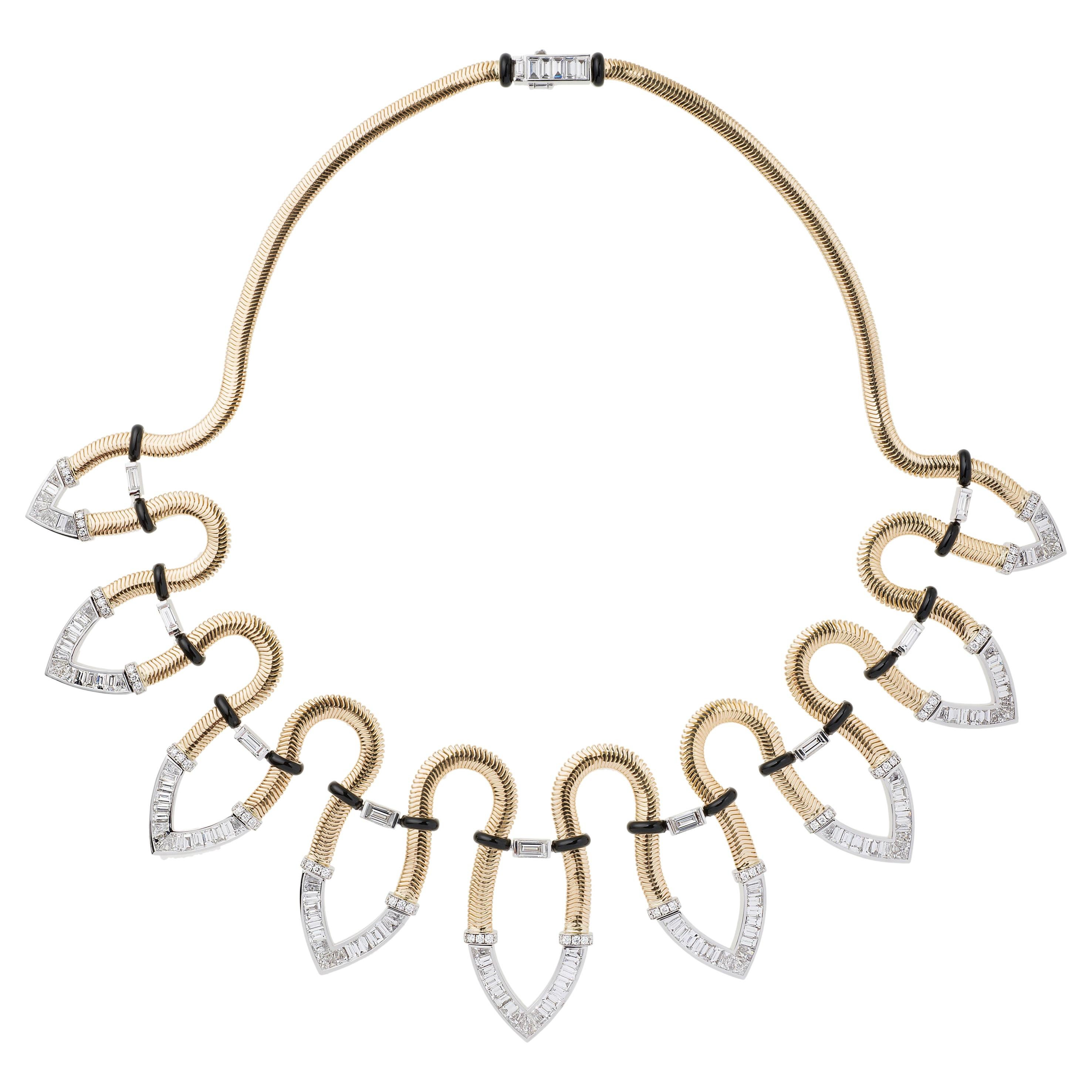 Nikos Koulis Feelings Riviera Necklace with White Diamonds in 18K Yellow Gold