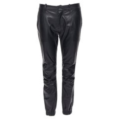 NILI LOTAN 100% lambskin leather elasticated cuff hem casual pants US0 XS