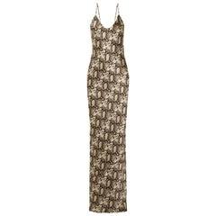 Nili Lotan Snake-Print Silk-Satin Maxi Dress
