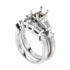 Nili Platinum and 18 Karat White Gold Bridal Mounting Set