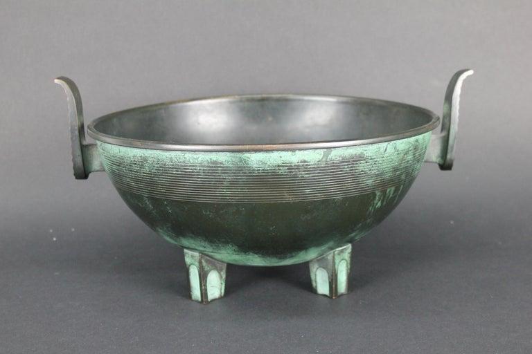 Nils Fougstedt Modernist Bronze Bowl for FAK, Sweden, 1930s For Sale 5